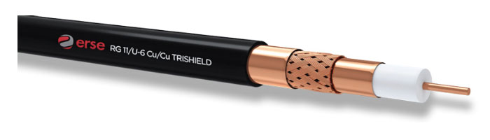 RG 11/U-6 Cu/Cu Trishield Zayıf Akım Koaksiyel Kablo