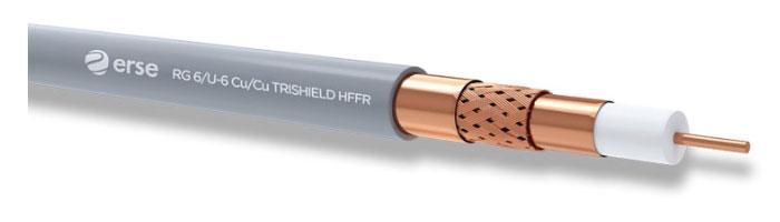 RG 6/U-6 Cu/Cu Trishield HFFR Zayıf Akım Koaksiyel Kablo