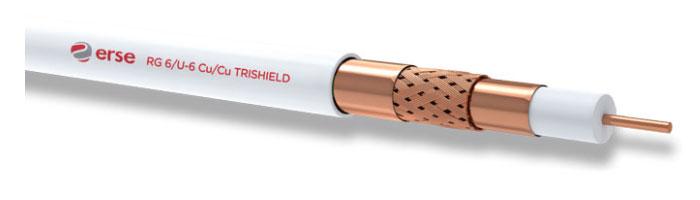 RG 6/U-6 Cu/Cu Trishield Zayıf Akım Koaksiyel Kablo