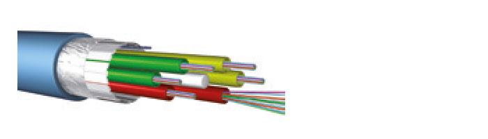 Ucfibre I/O ST D LSHF 1.8 KN Stranded Loose Tube, 6 – 264 Fibres, 6, 8 Or 12 Fibres Per Ø 2.3mm Tube, Firebur® Sheath Fiberoptik Kablo